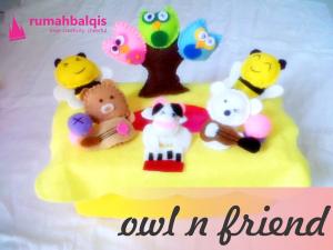 kotak tisu flanel owl rumahbalqis